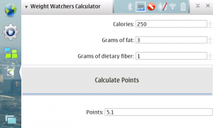 Weight Watchers Calculator Screenshot